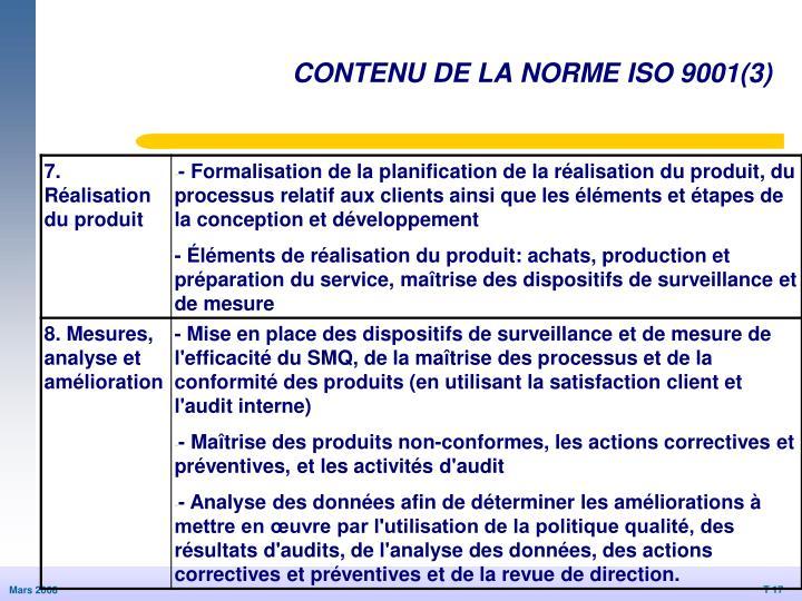 CONTENU DE LA NORME ISO 9001(3)