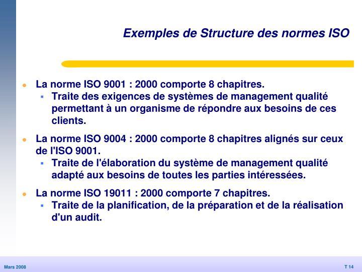 Exemples de Structure des normes ISO