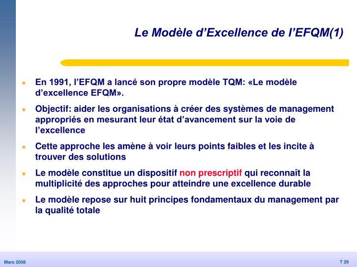 Le Modèle d'Excellence de l'EFQM(1)