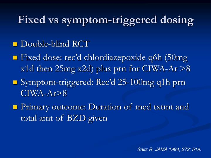 Fixed vs symptom-triggered dosing