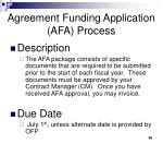 agreement funding application afa process