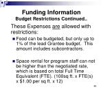 funding information budget restrictions continued