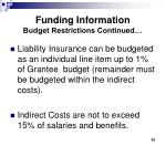 funding information budget restrictions continued1