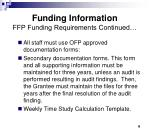 funding information ffp funding requirements continued