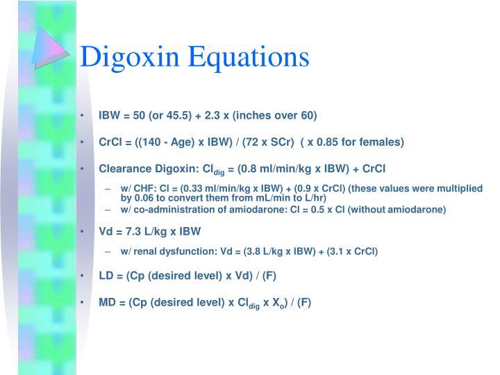 Digoxin Equations