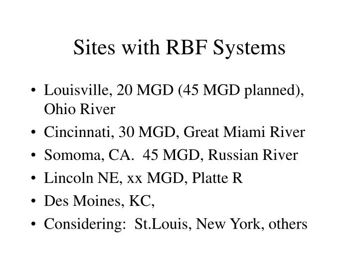 Sites with RBF Systems