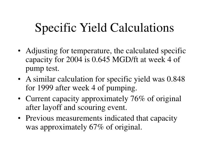 Specific Yield Calculations