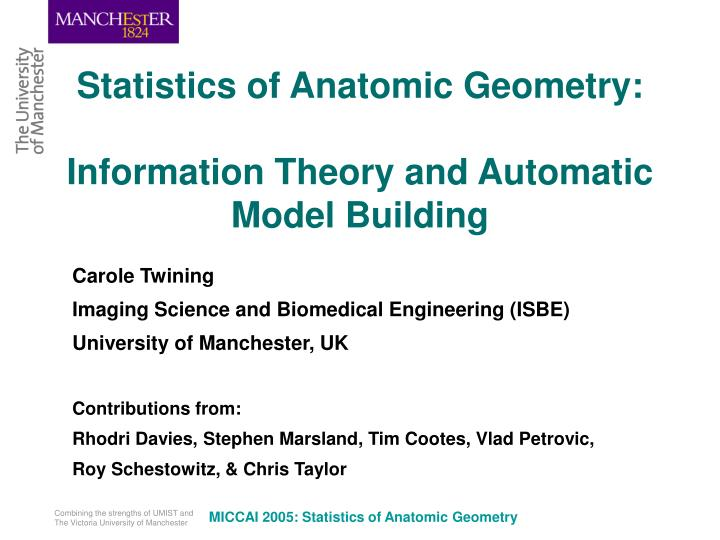 statistics of anatomic geometry information theory and automatic model building n.