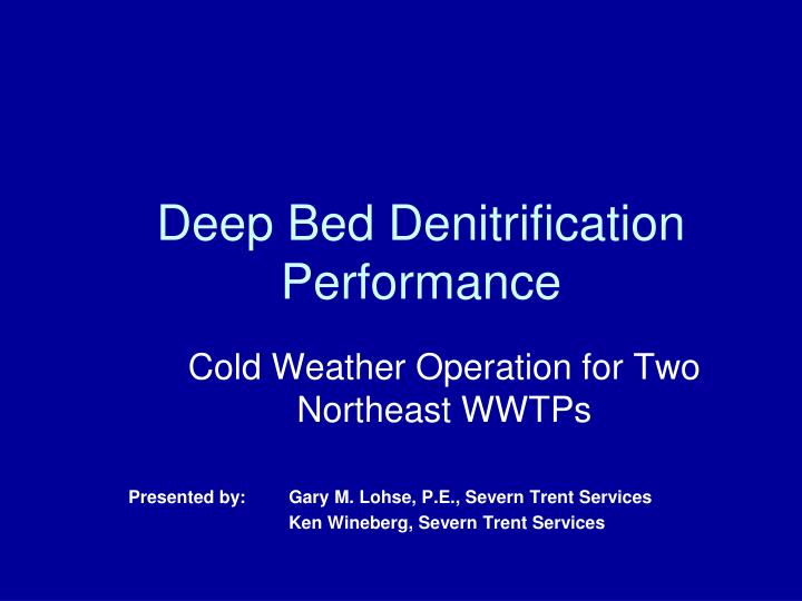 Deep bed denitrification performance