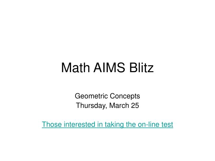 Math aims blitz