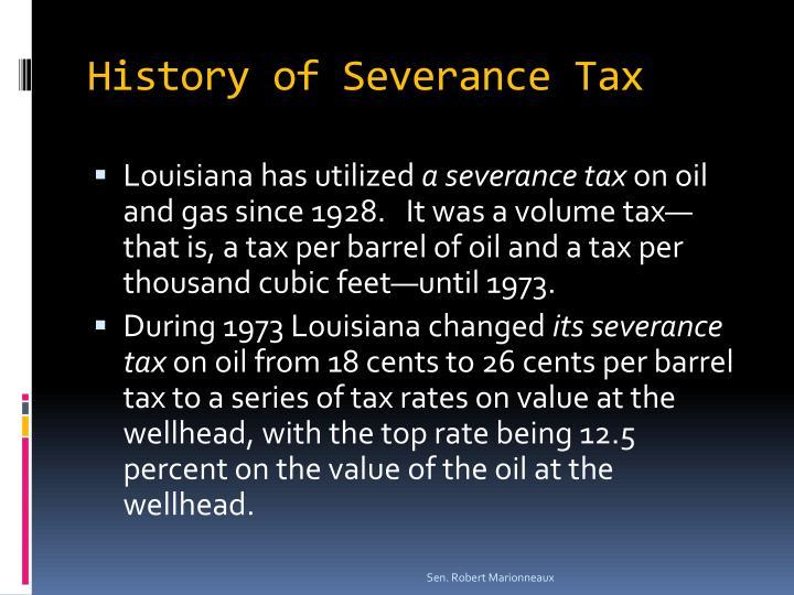 History of severance tax