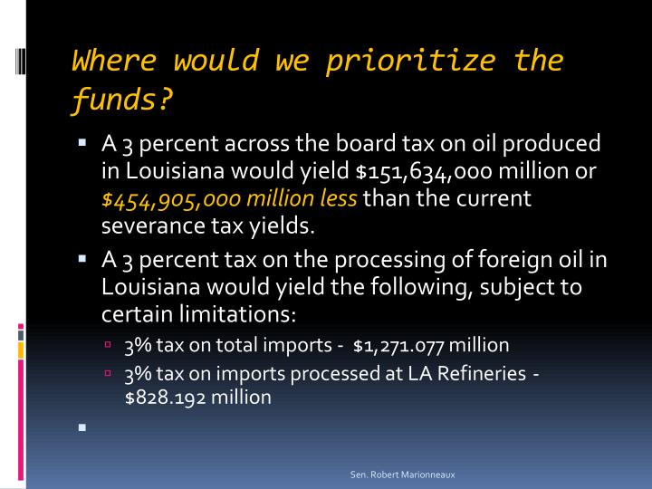 Where would we prioritize the funds?