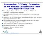 independent 3 rd party evaluation of nw natural conservation tariff