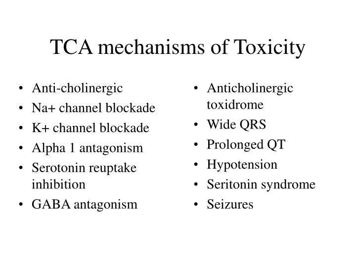 Tca mechanisms of toxicity