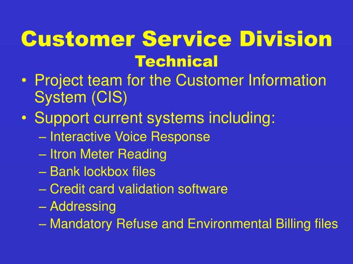 Customer Service Division