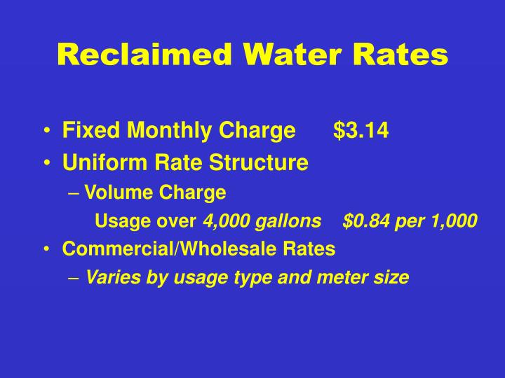 Reclaimed Water Rates