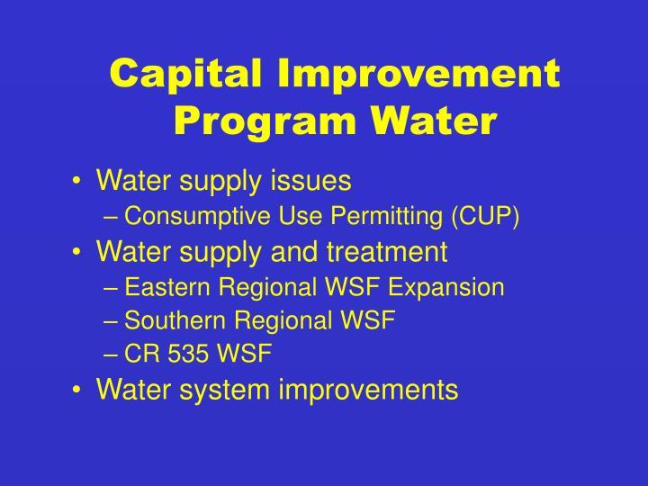 Capital Improvement Program Water