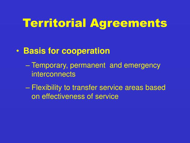 Territorial Agreements