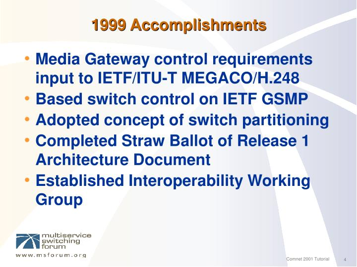 1999 Accomplishments