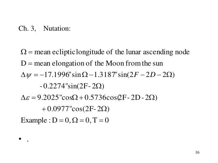 Ch. 3,    Nutation: