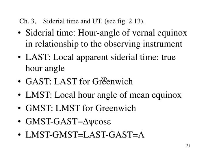 Ch. 3,    Siderial time and UT. (see fig. 2.13).