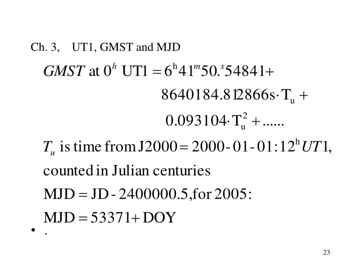 Ch. 3,    UT1, GMST and MJD