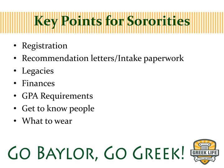Key Points for Sororities