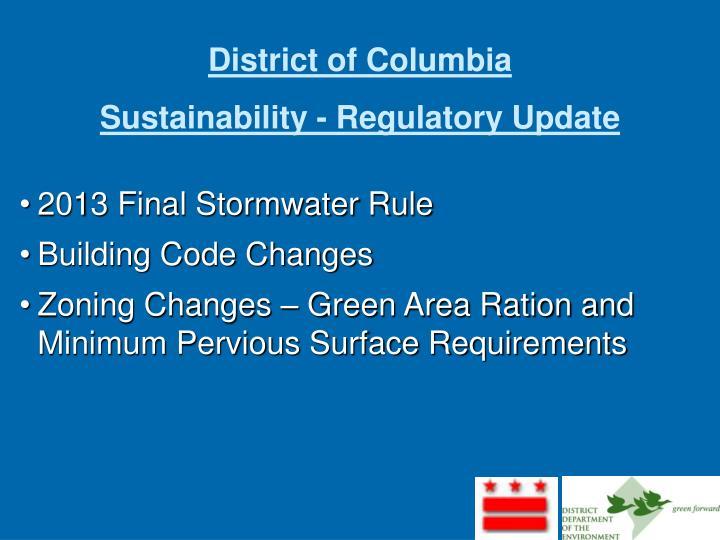 district of columbia sustainability regulatory update n.