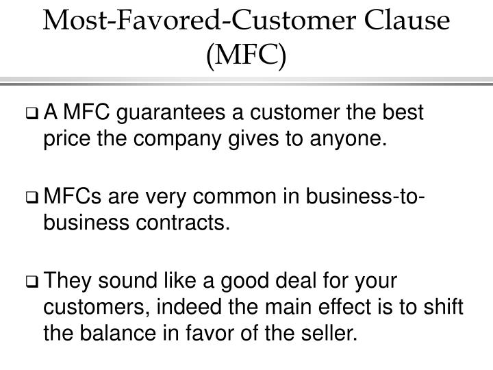 Most favored customer clause mfc