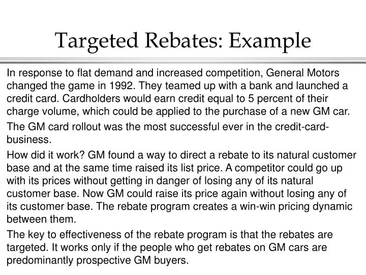 Targeted Rebates: Example