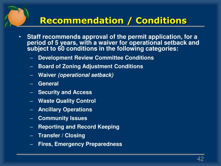 Recommendation / Conditions
