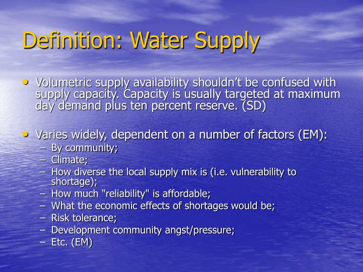 Definition: Water Supply