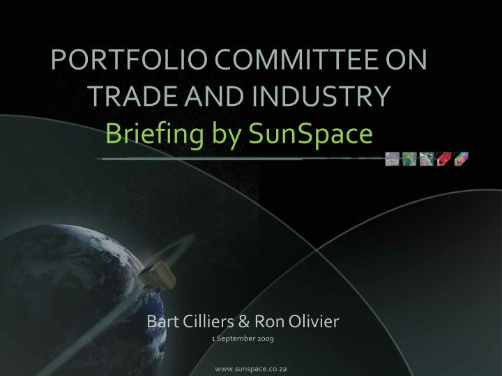 Portfolio committee on trade and industry briefing by sunspace