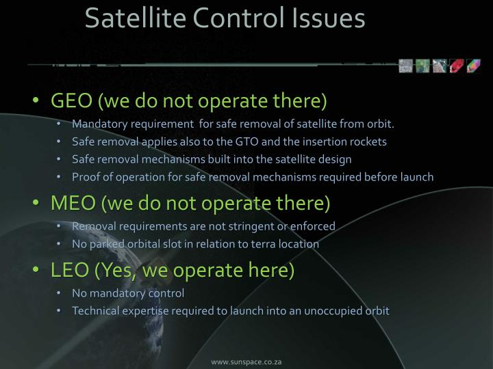 Satellite Control Issues