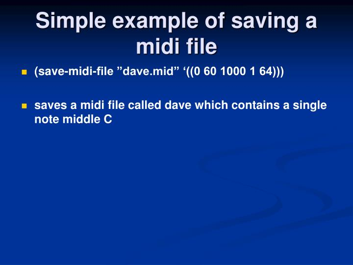 Simple example of saving a midi file