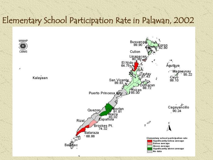 Elementary School Participation Rate in Palawan, 2002