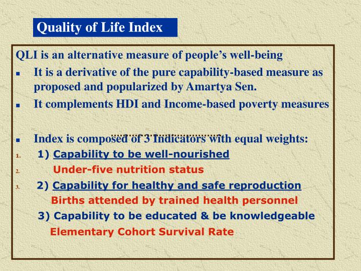 Quality of Life Index