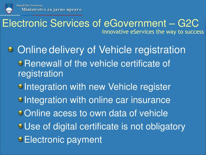 Electronic Services of eGovernment – G2C