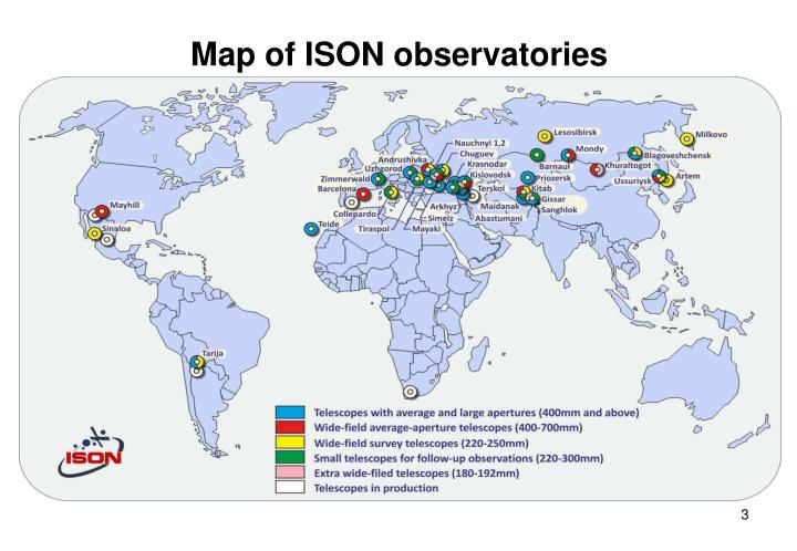 Map of ison observatories