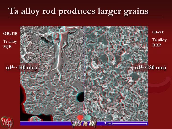Ta alloy rod produces larger grains