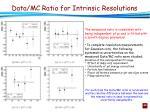 data mc ratio for intrinsic resolutions