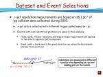 dataset and event selections