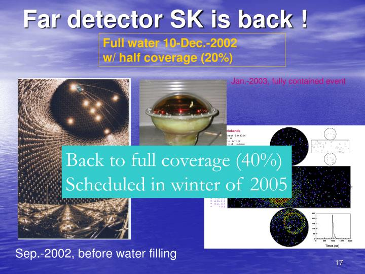 Far detector SK is back !