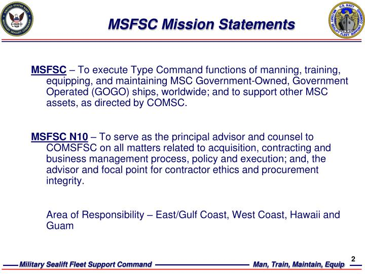 Msfsc mission statements