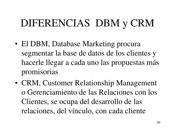 DIFERENCIAS  DBM y CRM