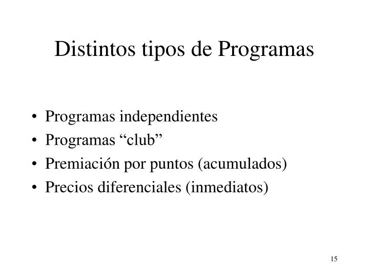 Distintos tipos de Programas