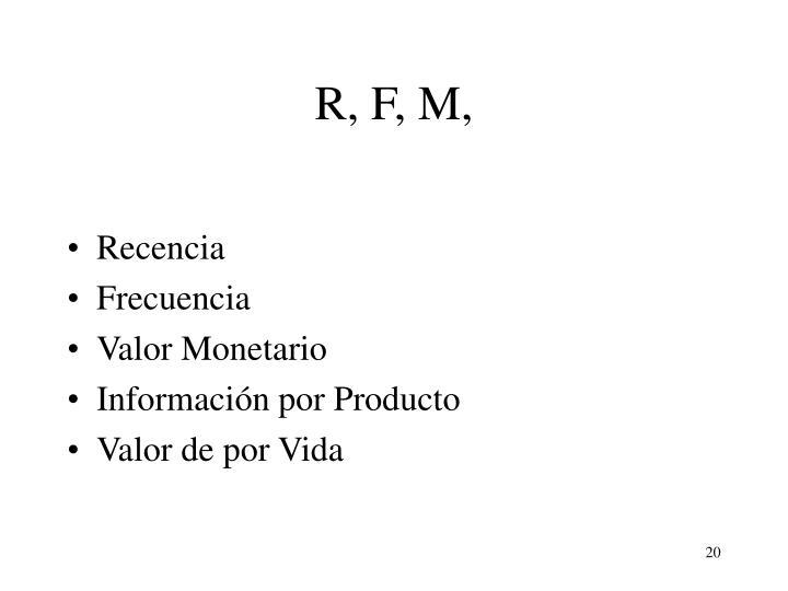 R, F, M,