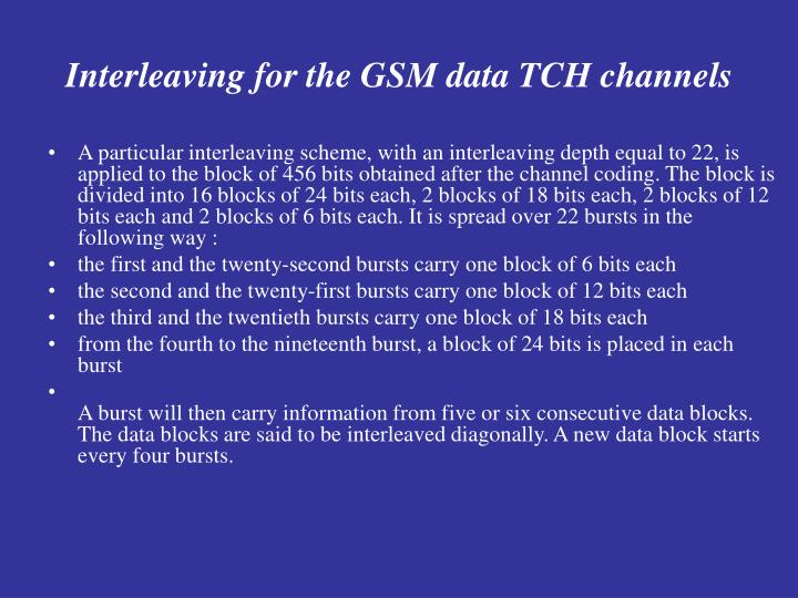 Interleaving for the GSM data TCH channels