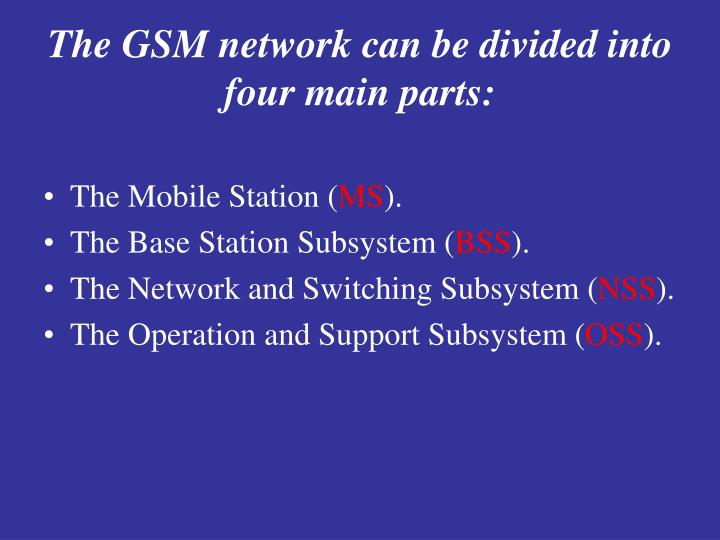 The GSM network can be divided into four main parts: