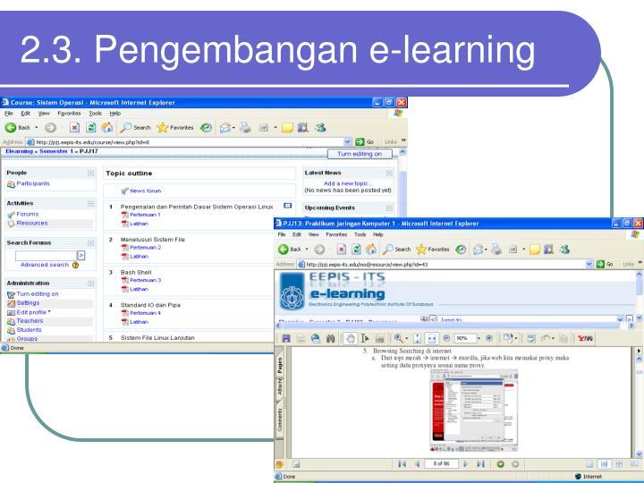 2.3. Pengembangan e-learning